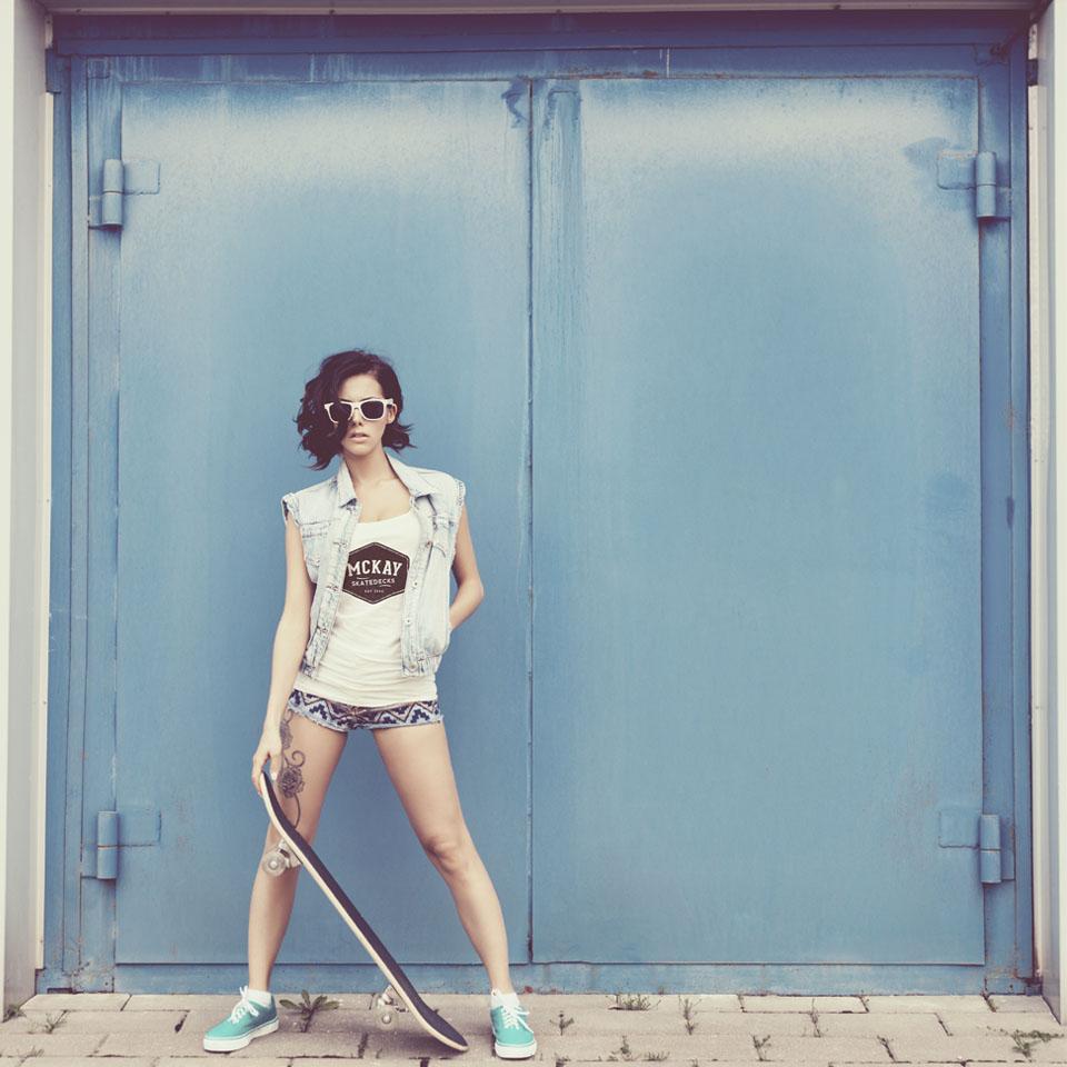 photo of skatergirl wearing mckay t-shirt