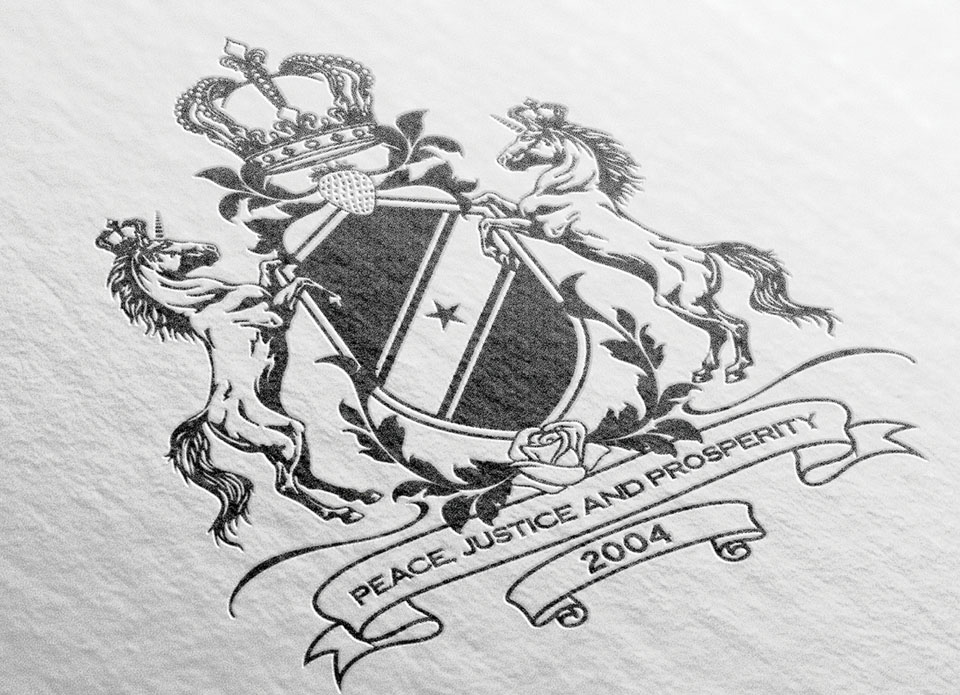 Black and white close-up of heraldic crest design work by twinbrush