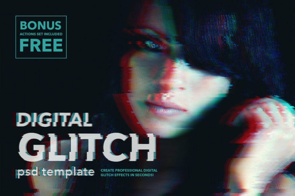 image showing digital glitch Photoshop effect by twinbrush, for sale on creative marktet