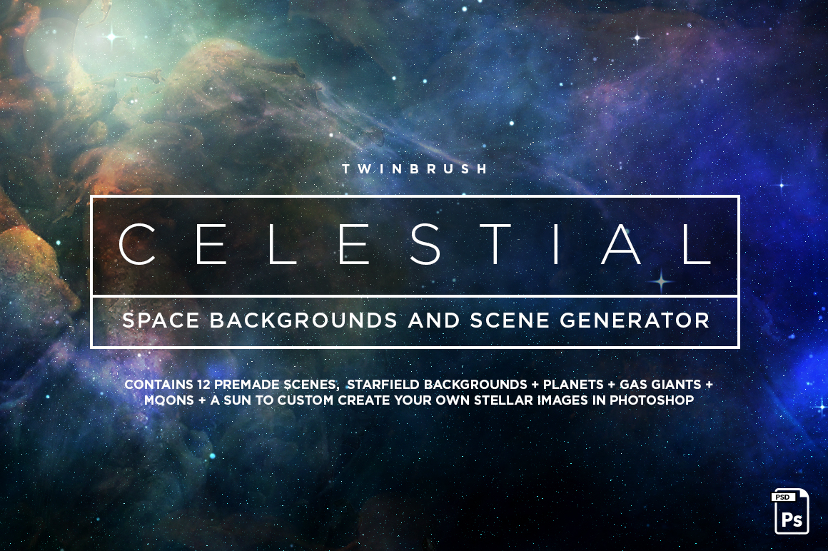 Space background image illustrating twinbrush celestial space graphics pack
