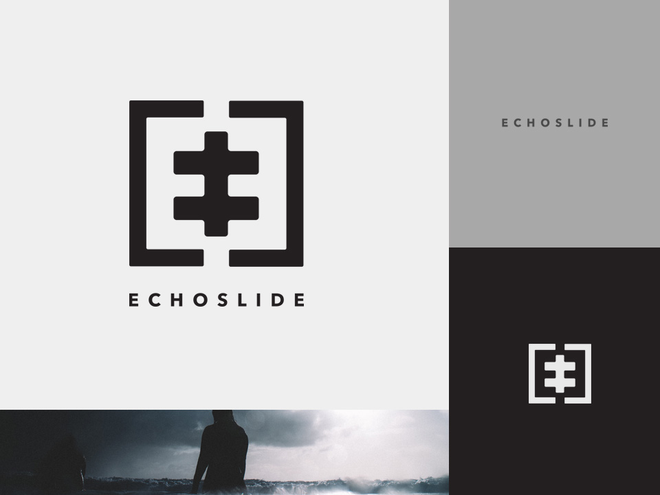 Varios elements of the choslide logo against different coloured backgrounds